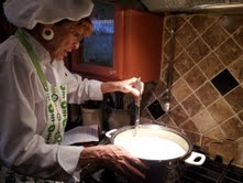 Chef Nancy Falster at work on the cheese.