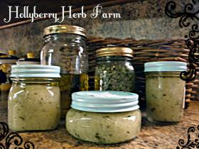 Herbal Oil & Sea Salt Scrubs- ready to be purchased from Hollyberry Herb Farm