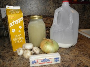 The basic ingredients for Cream of Mushroom Soup- things I keep on hand at all times.