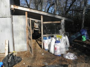 The former rabbit shed- those feed sacks are filled with bunny goodness.