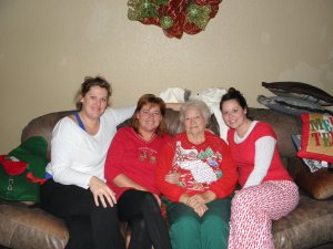 Me & my sisters with Grandmother on Christmas Morning
