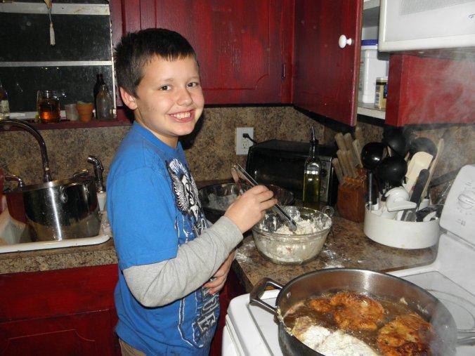 Jonathan making pork chops