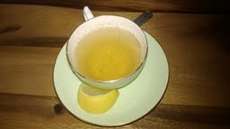 lemon sage tea on wood