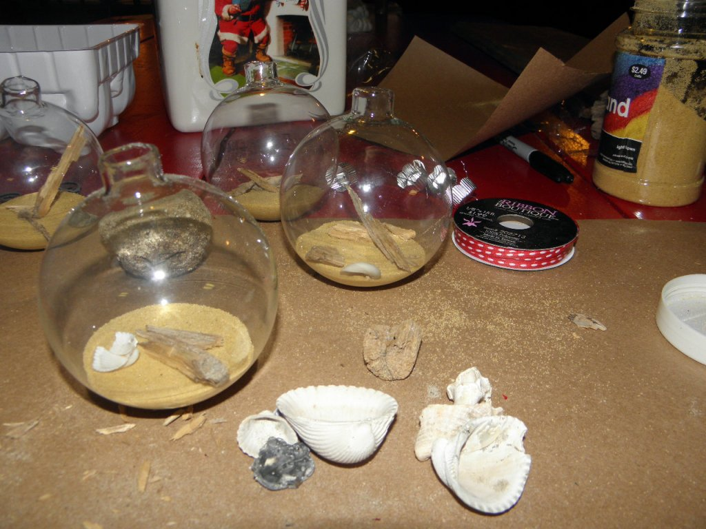Step 2, adding shells in the ornament