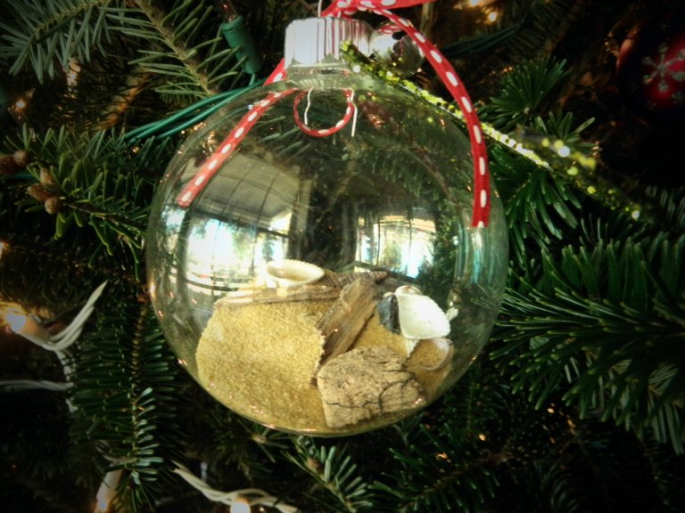 This years ornaments were make by me with shells, sand and drift wood collected from Galveston Island.