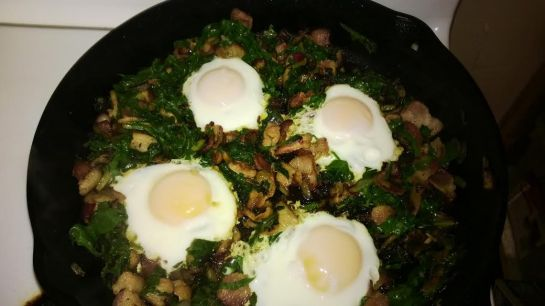 swiss chard, mushrooms and eggs
