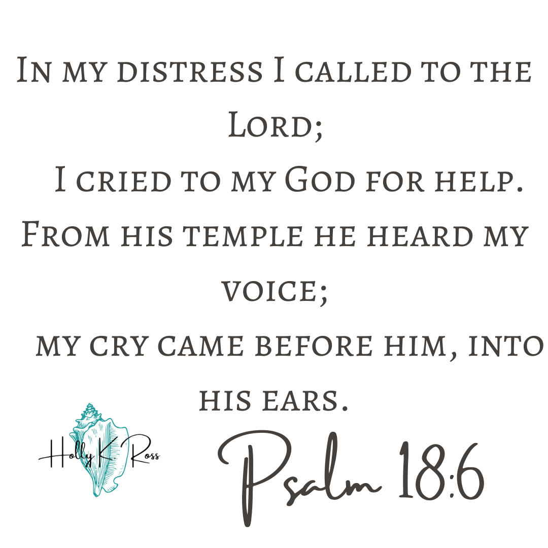 In my distress I called to the Lord; I cried to my God for help. From his temple he heard my voice; my cry came before him, into his ears.